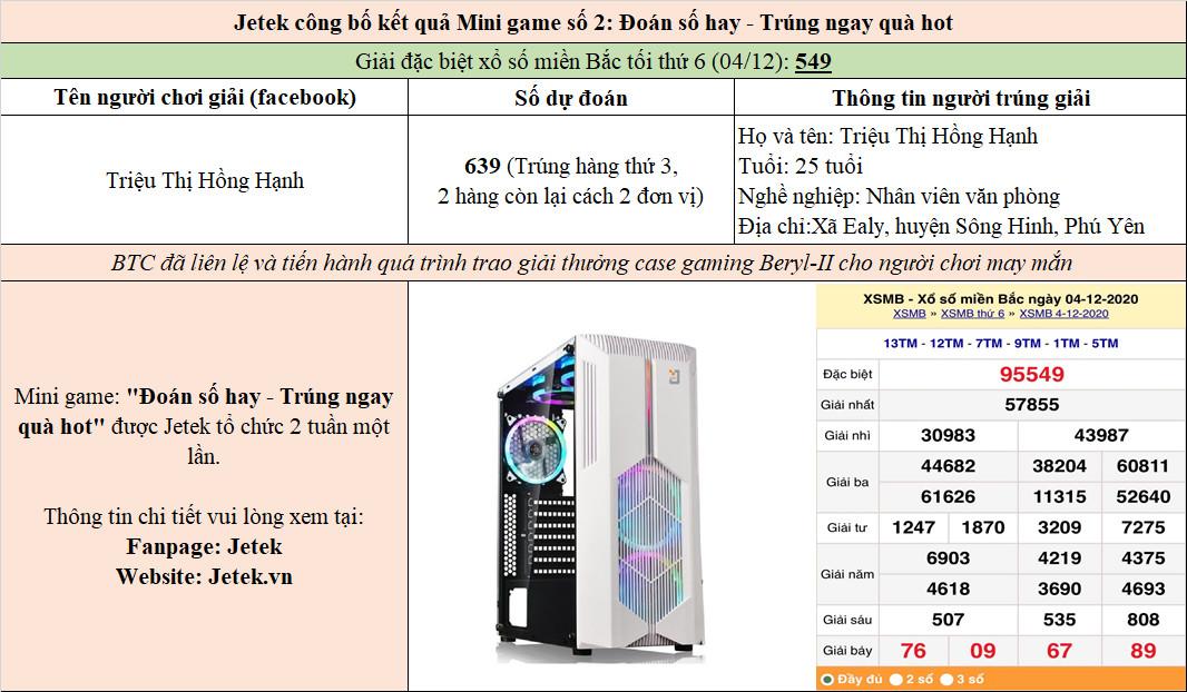 """Jetek công bố kết quả Mini game số 2: """"Đoán số hay – Trúng ngay case gaming hot"""""""